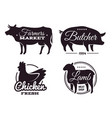 butchery shop labels with domestic animals vector image vector image
