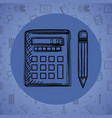 calculator math with pencil drawing vector image