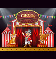 cartoon ringmaster and many animal performance on vector image vector image