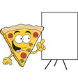 Cartoon slice of pizza with a sign vector image vector image