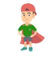 caucasian brave boy wearing superhero costume vector image vector image
