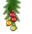 Christmas background with balls and fir branches vector image vector image