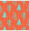 Christmas trees seamless red pattern vector image