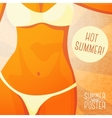 Cute summer poster - bikini girl on the beach vector image vector image
