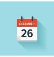 December 26 flat daily calendar icon vector image