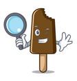 detective chocolate ice cream character cartoon vector image vector image