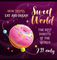 donut planet banner food space vector image vector image