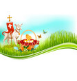 easter paschal eggs and lamb greeting card vector image vector image