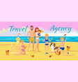 family summer vacation banner flat template vector image vector image