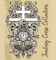 fantasy cross with skull vector image vector image