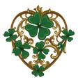 four-leaf clover in vintage retro style irish vector image