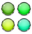 glass buttons green and yellow round 3d buttons vector image vector image