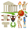 greece symbols traveling history and culture vector image