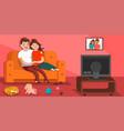 happy family watch tv vector image vector image