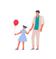 happy father daughter walking isolated on white vector image vector image