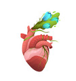 heart realistic flowers blooming healthy eco vector image