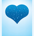 heart with fresh blue water drops vector image vector image