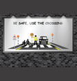 illuminated advertising billboard school crossing vector image vector image