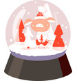 in a glass ball pig in pants mittens and a hat vector image