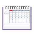 isolated september page 2019 planner calendar vector image