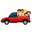 Many children riding on red truck vector image vector image