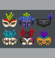 masquerade masks realistic masked fashion party vector image vector image
