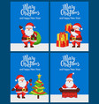 merry christmas happy new year santa claus banners vector image