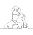 one continuous line drawing chef showing ok sign vector image