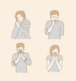 people cough because cold autumn or winter vector image