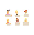 people holding blank banners collection funny vector image