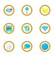 present communication icon set cartoon style vector image vector image