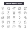 problems line icons signs set outline vector image vector image