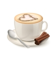 Realistic cup filled with coffee vector image
