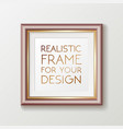 realistic square gold frame template frame on the vector image vector image
