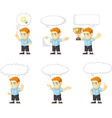 Red Head Boy Customizable Mascot 21 vector image vector image