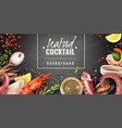 seafood cocktail background poster vector image vector image
