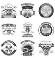 set vintage motorcycle emblems labels vector image vector image