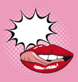 sexy lips pop art with speech bubble vector image vector image