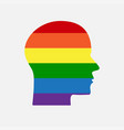 sign lgbt silhouette head lgbt community rainbow vector image
