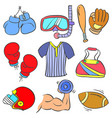 sport equipment various doodle style vector image vector image