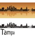 Tampa skyline in orange background vector image vector image