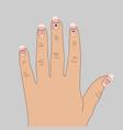 two broken nails on hand cartoon vector image vector image