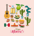 viva mexico colorful poster with traditional vector image vector image
