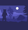 walking bear in forest mountain camp at night vector image