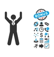 Winner Hands Up Flat Icon with Bonus vector image vector image