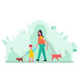 woman and son walking with dogs on collar isolated vector image vector image