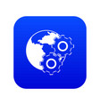 world planet and gears icon digital blue vector image