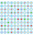 100 arrow and button icons set cartoon style vector image