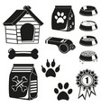 13 black and white pet care elements silhouette vector image vector image