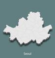 3d isometric map of seoul is a city of korea
